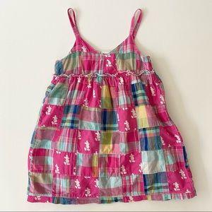 DISNEYLAND Resort Pink Mickey Mouse Plaid Patchwork Sleeveless Dress Girls XS/4T